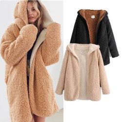 윈터 여성용 더블 페이스의 포 모피 코트 따뜻한 아웃웨어 재킷