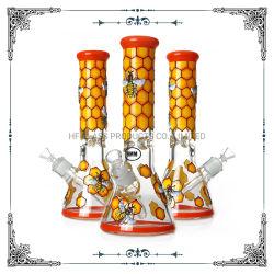 Tubo di acqua di fumo dell'ape mellifica della fabbrica 9mm della mano della coppa di vetro spessa della pittura