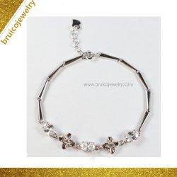 Or Blanc de luxe de rhodium fleur couleur 925 Sterling Silver Jewellery Bracelet avec cz pour les filles