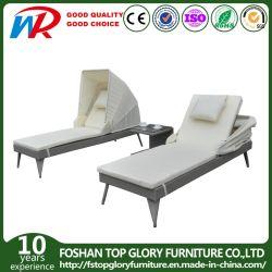 L'Osier rotin transats Outdoor Pool Laybed Sun Lounge lit de repos avec meubles de patio de l'auvent