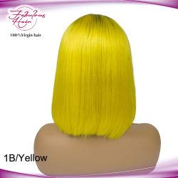 Ручной 1b/желтый цвет волос человека Raw Bazilian Боб Wig