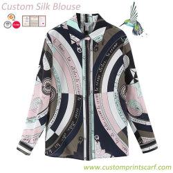 Senhora 100% personalizado de seda pura seda blusa