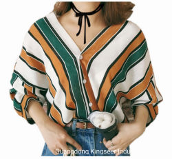 개인 라벨 2020 가을 도매 하이 정량 레이디스 패션 루즈 레저 의류 캐주얼 여름 의류 폴리에스테르 블라우스 컬러풀한 스트라이프 롱 슬리브 셔츠