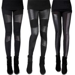 Новых женщин Sexy хлопка повседневный тонкая черная кожа Leggings (83832)