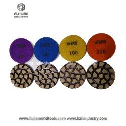 """3"""" Cerâmica Flexível Pucks abrasivos de resina de Cobre Híbrido Vínculo Metal polimento de concreto transitório"""