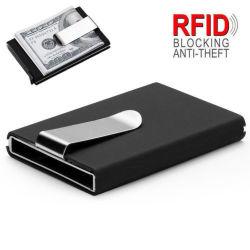 Carteira de alumínio a RFID o bloqueio do cartão SIM com dinheiro encaixar, Bloco de RFID Titular de cartão com capa de couro, Cartão bancário Titular, Dom promocional do titular do cartão