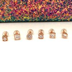 Diseño simple chapado en oro plata 925 joyas de moda el copo de nieve pendientes para la Mujer