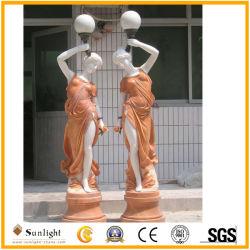 Personnaliser l'usine moderne/décoration de jardin naturel de grès blanc/jaune/en marbre/granit religieux/Ange/éléphant/Lion/animal Statue Sculptures de sculpture
