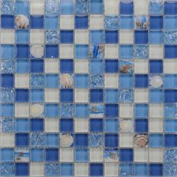 お得な料金で、中国佛山工場のプール「 Mosaic 」をご利用いただけます 「 Balcksplash Ocean Blue Glass Seashell Mosaic Wall Tiles
