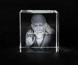 Sai Baba Foto in Crystal Cube für Hindu Souvenir Gift