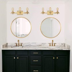 جدار مرآة مستديرة ذهبيّة معدنة إطار دائرة مرآة لأنّ وابل, غرفة حمّام أو يعيش غرفة