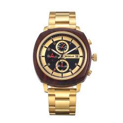 Golden Assistir para homens relógios de madeira Cronógrafo Luxury