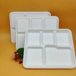 Compartimento de fantasia pratos de papel e o conjunto de pratos de louça de cana-de-descartáveis