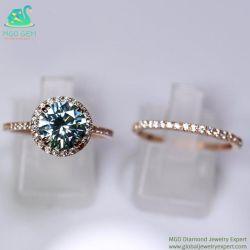 파란 색깔 7.5mm 화려한 둥근 커트 실험실을%s 가진 OEM 관례 14K 로즈 금 약혼 반지는 Moissanite 다이아몬드를 만들었다