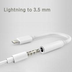Un rayo a 3,5 mm para auriculares compatibles con iPhone Adaptador 8/8 Plus/X/XR/XS/7/7 Plus, el control de la música y llamar a la función admite