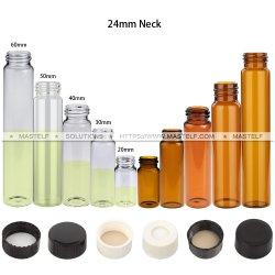 Mastelf Calidad farmacéutica pequeño frasco de vidrio y tapas con septos, incluyendo el tornillo, engarce y encaje cuello