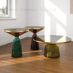 Base de vidro champanhe de Aço Inoxidável gold plating Bell Mesa lateral