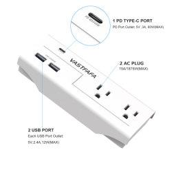Сша розетки скачков напряжения на выходе с Тип C Pd 45W мобильный телефон функцией быстрой зарядки портов