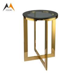 Commerce de gros de luxe en acier inoxydable coin canapé Table Table basse en verre