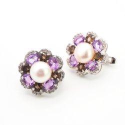 925 Libra Esterlina jóias de prata Fashion Água Fresca Pearl brinco com pedras preciosas coloridas