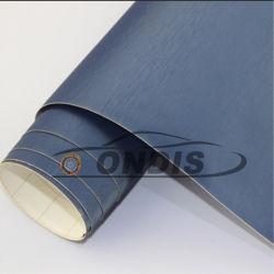 1,52*28m Bulle d'air libre de l'autocollant de voiture utilisée en métal bleu aluminium brossé Film Film de vinyle