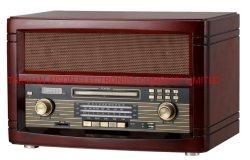 Retro radio a tre vie con la casella di legno di funzione CD di Bluetooth
