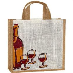 Botella de vino de dos bebidas Bolsa Bolsa yute Asa bolsa