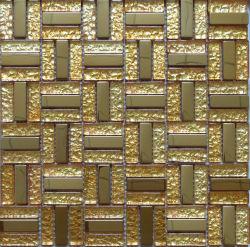Aço inoxidável ouro mosaico de metal, vidro mosaico azulejos de parede (SM205)