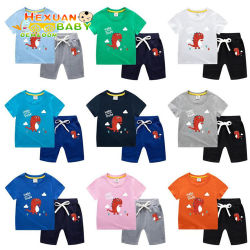 Short-Sleeved 상단 + 간결을 입어 아기는 세트를 2명 피스 여름 아이들의 의류 소년 100%년 면 Short-Sleeved 한 벌 입는다