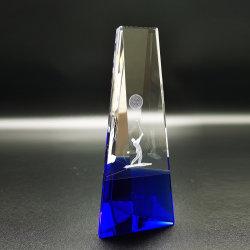 De nieuwe 3D Trofee van het Kristal van het Golf van de Laser kent Blauwe Basis toe