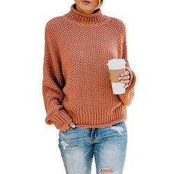 Зимние стильный элегантный моды женщин сплошным цветом Turtleneck Pullovers дамы перемычки свитер