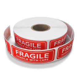 Etiqueta brillante semi frágil y la etiqueta de advertencia Stick en caja de cartón o parcela