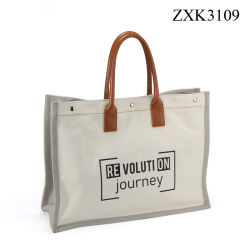 PU toile contraste femme un sac de shopping personnalisé Mesdames shopper Sac à main