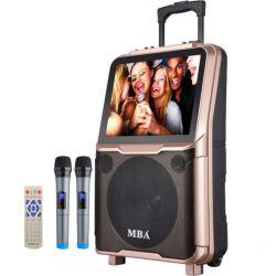 """10"""" Bluetooth Battery-Powered Multimedia Video Karaoke WiFi Trolley altavoz con micrófono inalámbrico y TV de pantalla"""