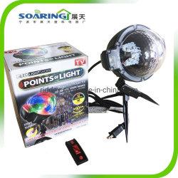 Как видно как телевизор LED лампы проектора с помощью пульта дистанционного управления под руководством этапе Рождество лампа