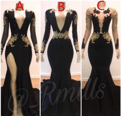Slim robes de bal de Mermaid or encolure en V de la dentelle à manches longues illusion du côté haut Split élégantes robes du soir Plus Size Custom L1746