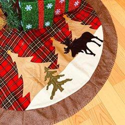 크리스마스 트리 스커트, 42인치 레드 앤 블랙 그리드 버팔로 체크 크리스마스 트리 스커트 담요, 크리스마스 장식 가정용 홀리데이 파티용 장식품