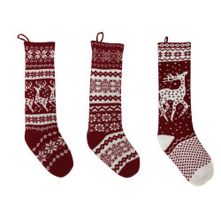 3 Pack Christmas Stockings 28 inch grote maat Kabel gebreide Stocking Gifts & decorations voor Family Holiday Kerstmis Party, Bourgondië