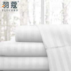 Befestigtes und flaches Königin-Größen-Blatt Baumwollgewebe-des weißen Satin-Streifen-100%