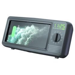 Retro 텔레비젼 텔레비젼 Bluetooth 오디오 무선 충전기 창조적인 대 시계 자명종 카드 소형 스피커 무선 충전기