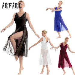 La mujer camiseta sin mangas de la División de la malla Leotard gimnasia vestido de interpretación escénica Ballet Dancewear