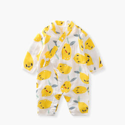 Unisex Rompers mayorista de manga larga algodón Pijama bebé muselina