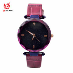 Commerce de gros de façon personnalisée Lint de la courroie de PU Quartz Cheap Mesdames Watch #V903