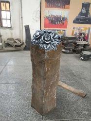 Estatua de basalto Negro Talla de rosa, la decoración de jardín