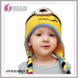 Winter Lovely Minions Hand-Knit Wool Hat Children Ear Hat (Snmxm015)