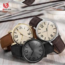 O logotipo personalizado tira de couro grosso Mulheres e Homens Pulseira Relógios de quartzo#V802