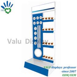 Revestimiento de polvo en el suelo caliente de venta personalizada de la luz de Metal perforado Soporte de pantalla con ganchos para la visualización de las lámparas de bombilla LED