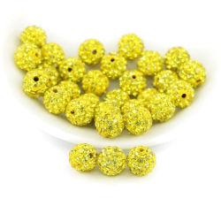 チャーミングな、輝いた円形の粘土のラインストーンShamballaはネックレスのサイズ4mmのレモン色のための水晶ビードを舗装する