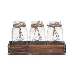 3 ПК Мейсон кувшина ваза набор салазок Flower Pot деревянный лоток сеялки