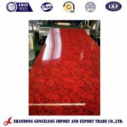 Rosa roja flor color impreso de acero galvanizado recubierto bobina PPGI